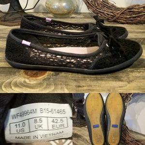 Keds Sz 11 Knit Black Lace Flats